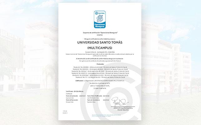 Universidad Santo Tomás, recibe nuevamente la Certificación en Operaciones Bioseguras